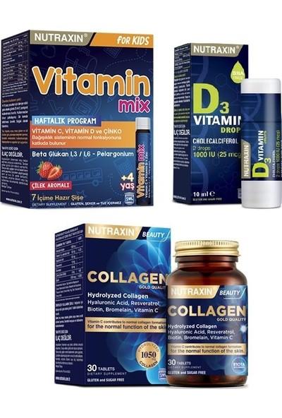 Nutraxin Çocuklara Özel Vitamin Mix 7 Hazır Şişe+Hidrolize Kolajen Içeren 30 Tablet+Vitamin D3 10 ml Damla