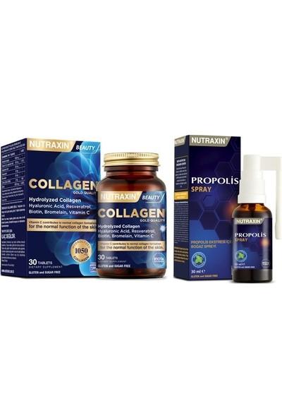 Nutraxin Propolis Boğaz Spreyi 30 Ml+Tip 1 ve Tip 3 Hidrolize Kolajen Içeren 30 Tablet