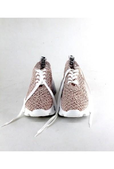 love Modalena Kadın Dantelli Sneaker Bağcıklı Spor Ayakkabı Love Pudra
