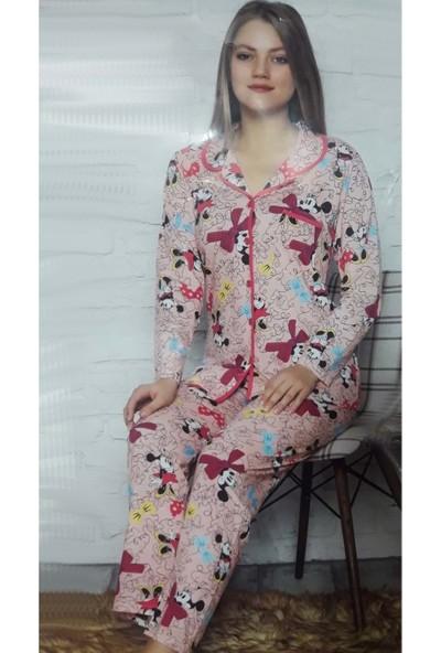 Minnie Bulut Fashion Minnie Mickey Mouse Desenli 2702 Kadın Kollu Penye Pijama Takımı