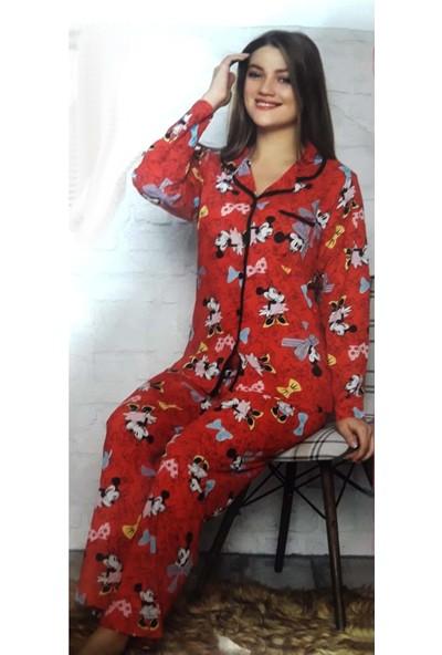 Minnie Bulut Fashion Minnie Mickey Mouse Desenli 2700 Kadın Kollu Penye Pijama Takımı