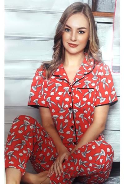 Minnie Bulut Fashion Minnie Bugs Bunny S0001 Kadın Kolsuz Penye Pijama Takımı