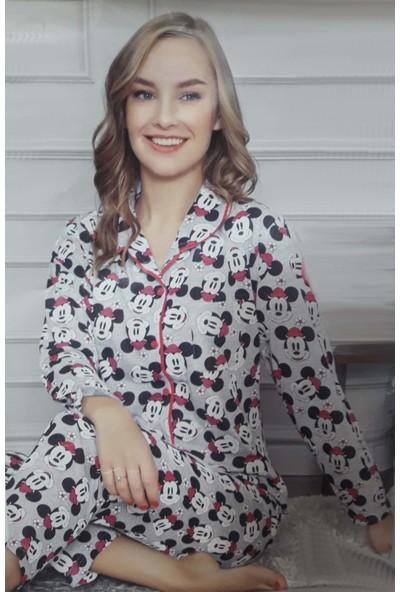 Minnie Bulut Fashion Minnie Mickey Mousa 7002 Kadın Kolsuz Penye Pijama Takımı