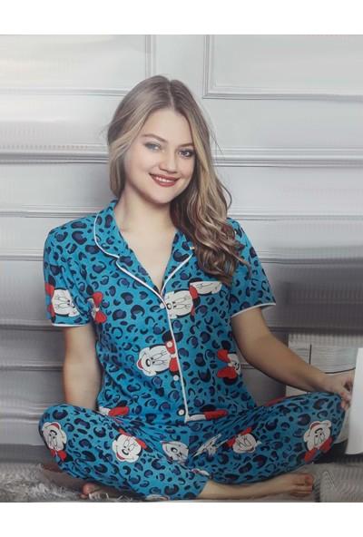 Minnie Bulut Fashion Minnie Mickey Mousa 2133 Kadın Kolsuz Penye Pijama Takımı