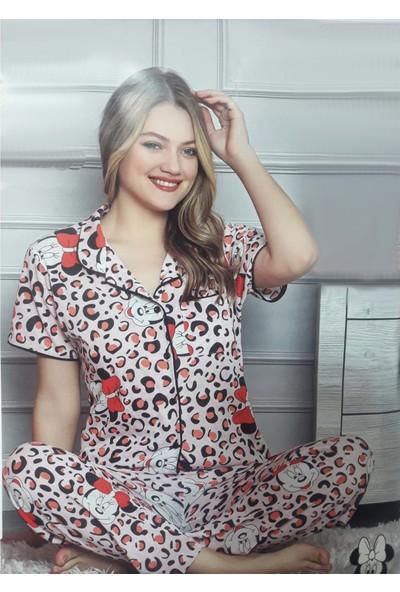 Minnie Bulut Fashion Minnie Mickey Mousa Çok Renkli 2135 Kadın Kolsuz Penye Pijama Takımı