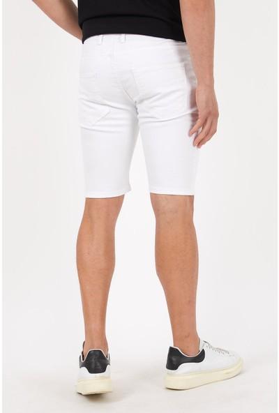 Las Vegas Beyaz Renk Erkek Kot Şort