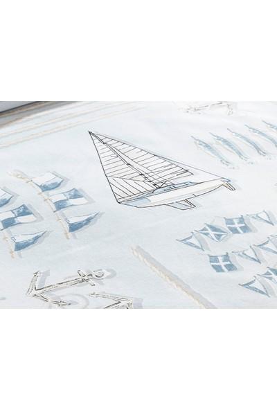 English Home Ahoy Captain Mavi 200 x 220 cm Pamuklu Çift Kişilik Nevresim Seti