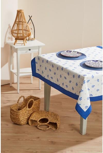 Ays Home Blue Blanc Leke Tutmaz Masa Örtüsü