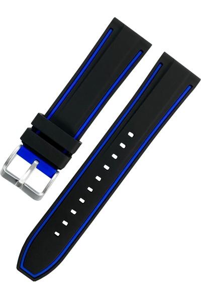 Daniel Klein Saat Uyumlu 24MM Siyah Renk Mavi Çizgili Akıllı Pimli Silikon Saat Kordonu Kayışı