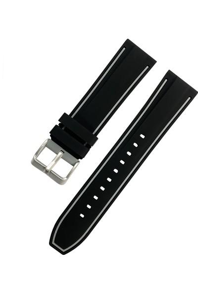 Daniel Wellington Saat Uyumlu 22MM Siyah Renk Gri Çizgili Akıllı Pimli Silikon Saat Kordonu Kayışı
