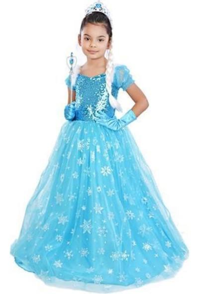 Masal Dünyası Kız Çocuk Mavi Frzoen Elsa Çocuk Kostümü - Tarlatanlı Kısa Kollu Simli Kostüm