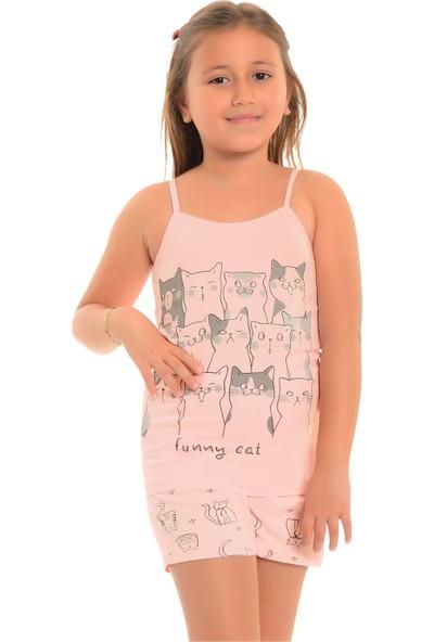 Little Frog Şortlu Kız Çocuk Pijama Takımı Kedi