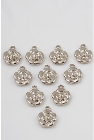 678 Aksesuar Gümüş Kaplama Gül Figürlü Bijuteri Boncuk 10 Adet