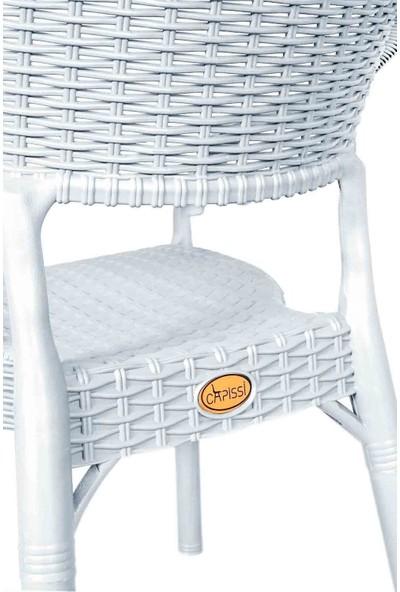 Hesaplı Rattan Bambu 4 Adet Koltuk Beyaz- Plastik Bahçe Sandalyesi