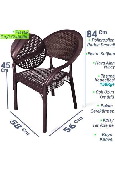 Hesaplı Rattan Bambu 6 Adet Koltuk Kahve- Plastik Bahçe Sandalyesi