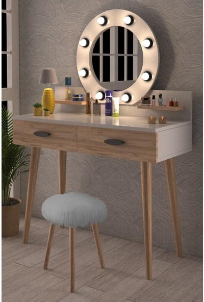 Y&E Albero Pırıltı Kulis Işılkı Puflu Makyaj Masası Şifonyer