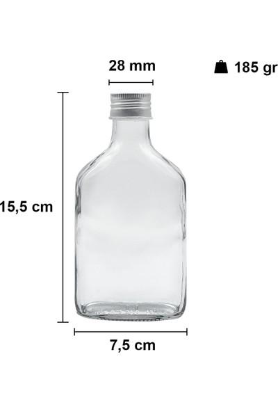 Afracam Cold Brew Şeffaf 200 ml. Sızdırmaz Gümüş Metal Kapaklı Boş Cam Şişe 6 Adet (Soğuk Kahve)