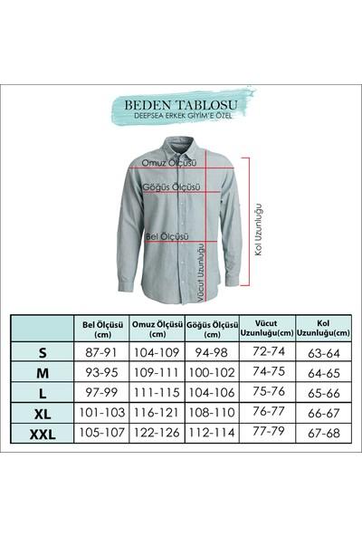 Deepsea Saks Mavi Çıtçıt Düğmeli Önü Biyeli Likrali Erkek Kısa Kol Gömlek 2104041