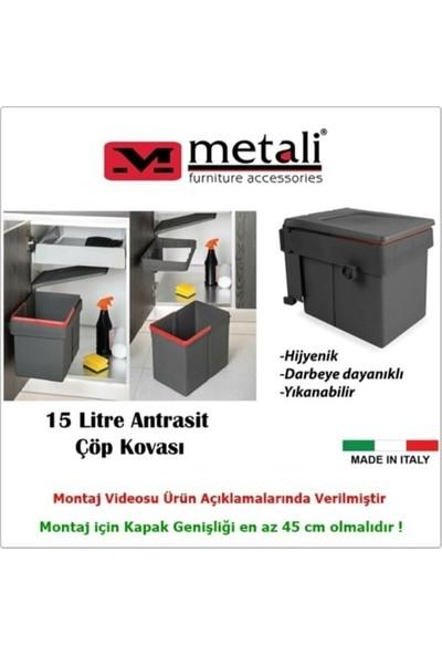 Metali Dolap Içi Çöp Kovası Antrasit 15 Lt