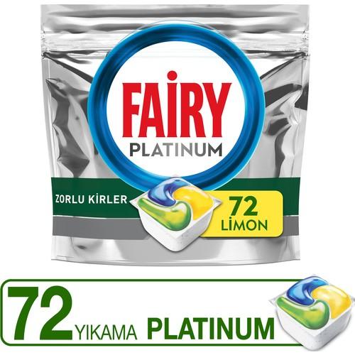 Fairy Platinum Bulaşık Makinesi Deterjanı Tableti / Kapsülü Limon Kokulu 72 Yıkama