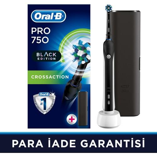 Oral-B Pro 750 Şarj Edilebilir Diş Fırçası Cross Action Siyah (Seyahat Kabı Hediyeli!)
