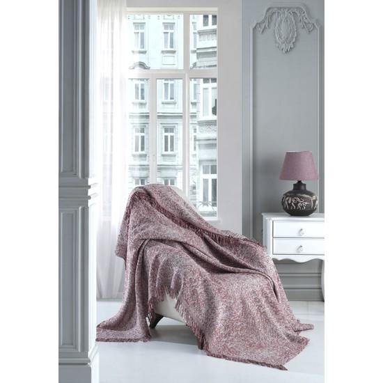 Lux Touch Sofya Kiremit Keten Koltuk Örtüsü 170 x 210 cm Koltuk Şalı Kanepe Berjer Koltuk Örtüsü Pamuklu Throw