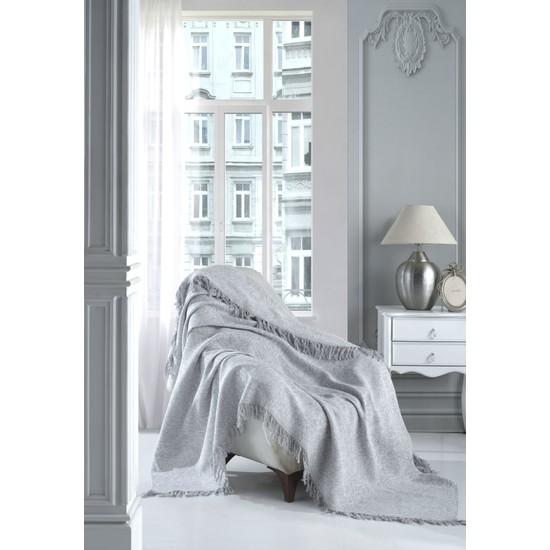 Lux Touch Sofya Gri Keten Koltuk Örtüsü 170 x 210 cm Koltuk Şalı Kanepe Berjer Koltuk Örtüsü Pamuklu Throw