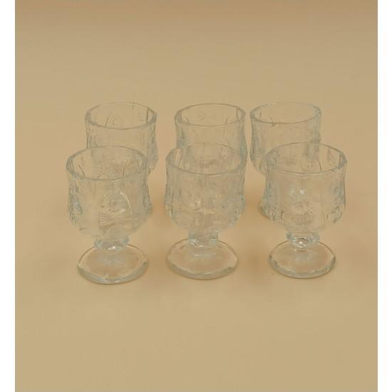 Crystal Desenli Kahve Yanı Bardağı 6 Lı