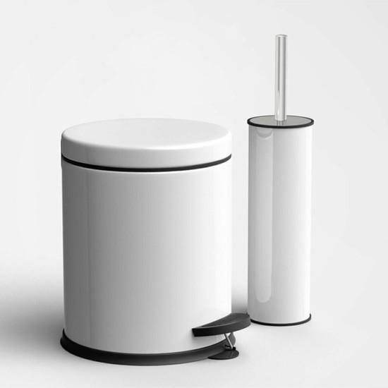 SAS Beyaz 5 LİTRE 2'Li Banyo Seti Pedallı Çöp Kovası Wc Klozet Tuvalet Fırça Seti Banyo Çöp Kovası