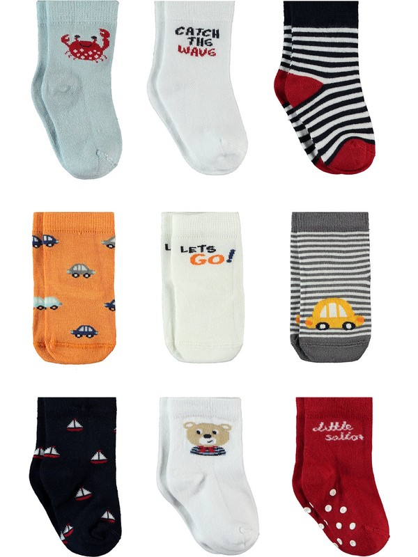 Petit Minou Erkek Bebek 9'lu Bambu Çorap Set 0-18 Ay Ekru