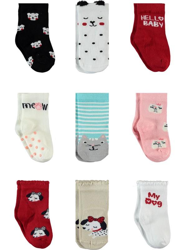 Petit Minou Kız Bebek 9'lu Bambu Çorap Set 0-18 Ay Mint Yeşili