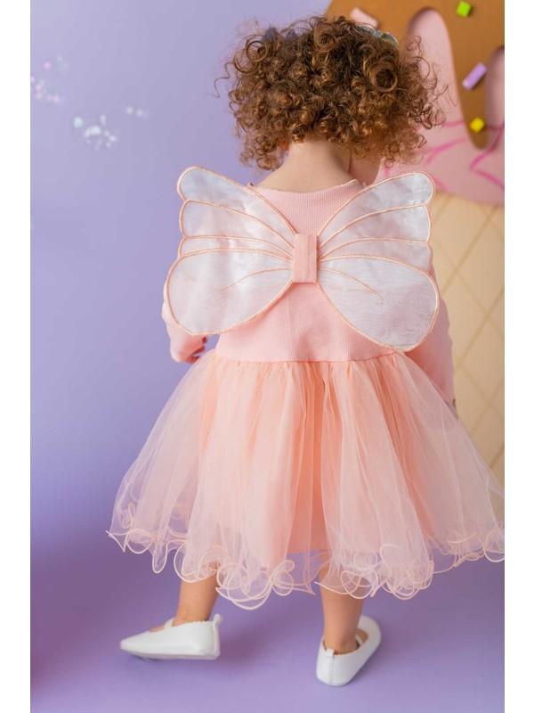 Little Honey Bunnies Somon Kanatlı Elbise