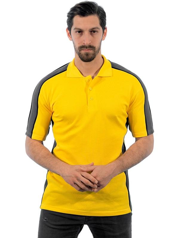 Şensel, Polo Yaka Tişört, Sarı-Gri (136E2165) T-shirt, Tshirt