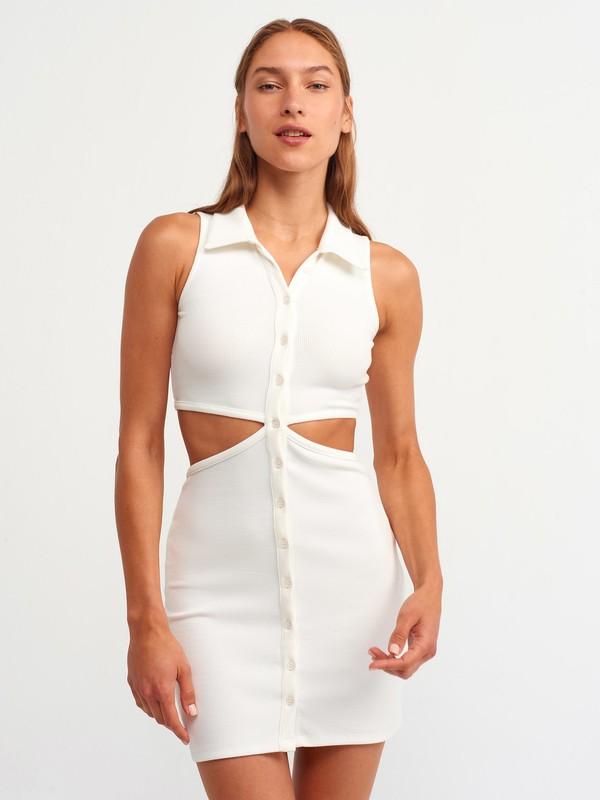 Dilvin 9105 Gömlek Yakalı Elbise-Ekru