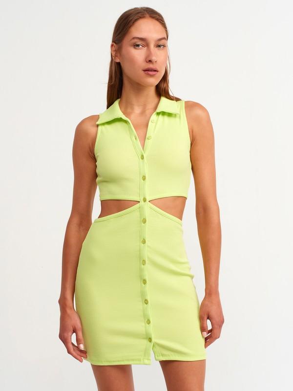 Dilvin 9105 Gömlek Yakalı Elbise-Lime