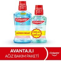 Colgate Plax Nane Ferahlığı Plağa Karşı Alkolsüz Ağız Bakım Suyu 500 ml + Plax Taze Nane 250 ml