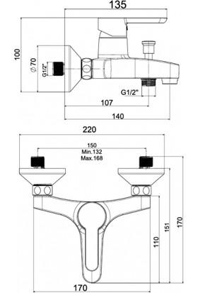 NSK Legna Plus Banyo Bataryası Krom N3033602