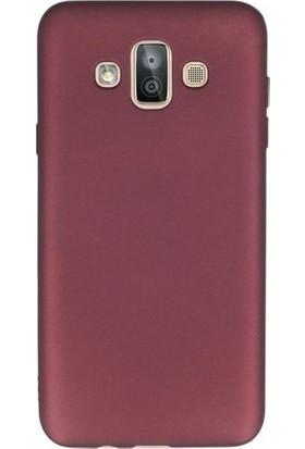 Canpay Samsung Galaxy J7 Duo Kılıf Yumuşak Pürüzsüz Esnek New Style Case Esnek Bordo