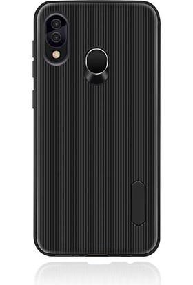 Canpay Samsung Galaxy A30 Kılıf Style Çizgi Tasarım Line Design Case Siyah