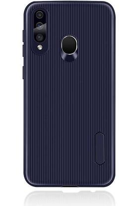 Canpay Samsung Galaxy A60 Kılıf Style Çizgi Tasarım Line Design Case Lacivert