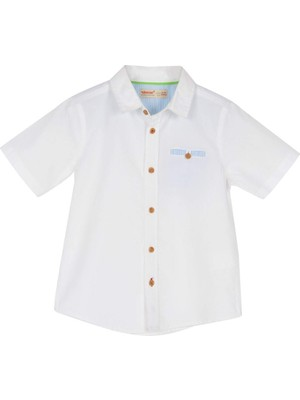 Silversun Erkek Çocuk Beyaz Renkli Kısa Kollu Cep Detaylı Dokuma Gömlek - Gc 215411