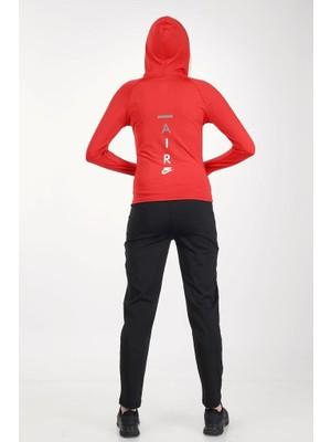 Nike Kırmızı Renk Kapüşonlu Tam Fermuarlı Dalgıç Kumaş Likralı Sweatshirt