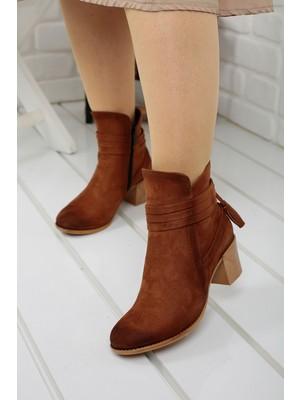 Potincim 8422-832 Süet Günlük 6cm Topuk Bayan Bot Ayakkabı Taba