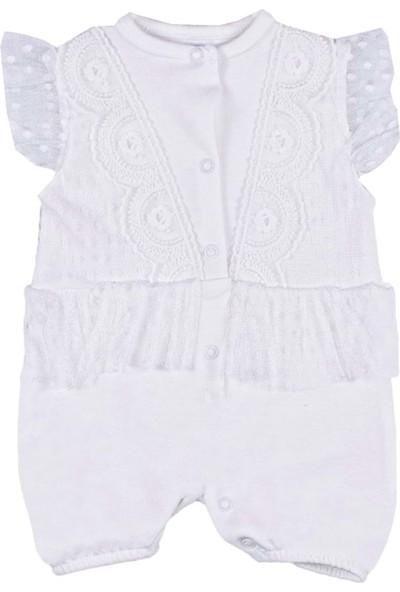 Nono Baby Kız Bebek Tulum Tüllü Işlemeli - Beyaz - 0-3 Ay
