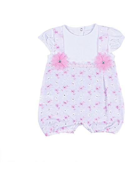 Nono Baby Kız Bebek Tulum Çiçek Aksesurarlı Lastikli - Pembe - 0-3 Ay
