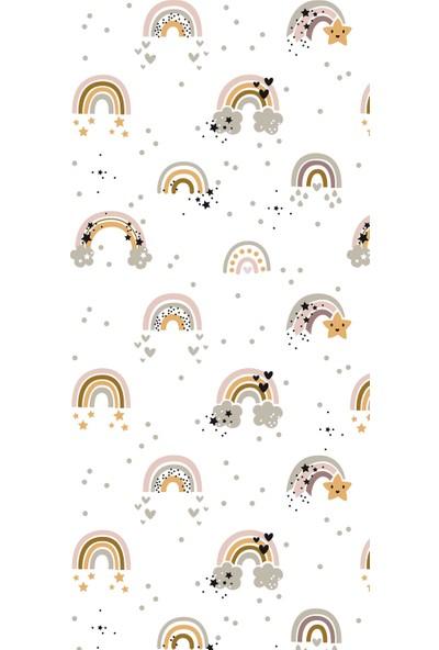 Fenomen Beyaz Zeminli Soft Gökkuşaklı Dijital Baskı Perde