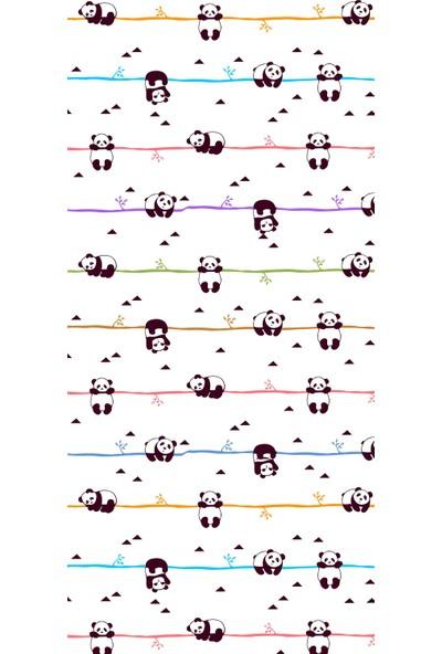 Fenomen Beyaz Zeminli Pandalı Dijital Baskı Perde