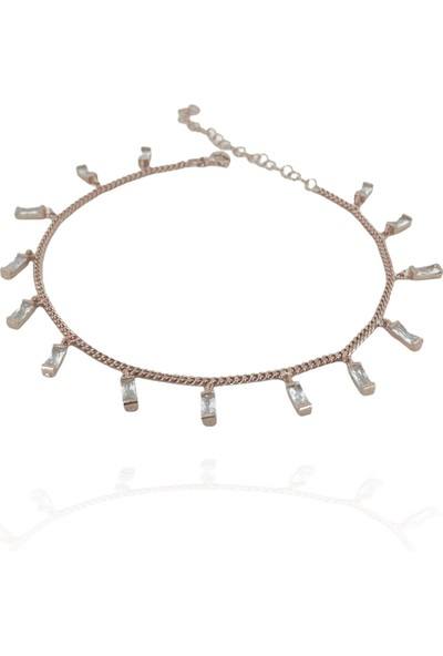 MaGümüş Gurmet Kalın Zincir Baget Taş Sallantılı Kalite 925 Gümüş Halhal Bileklik