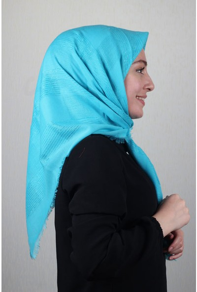 Jawel Düz Renk Simli Fileli Pamuk Eşarp - Desen-01 - Renk-16