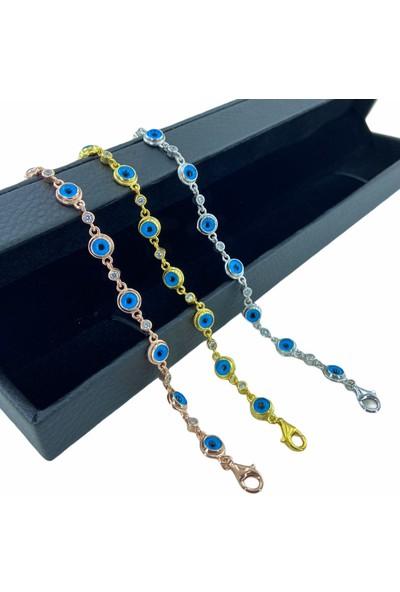 MaGümüş Nazar Cam Göz Boncuklu Yeni Rosegold 925 Gümüş Bileklik